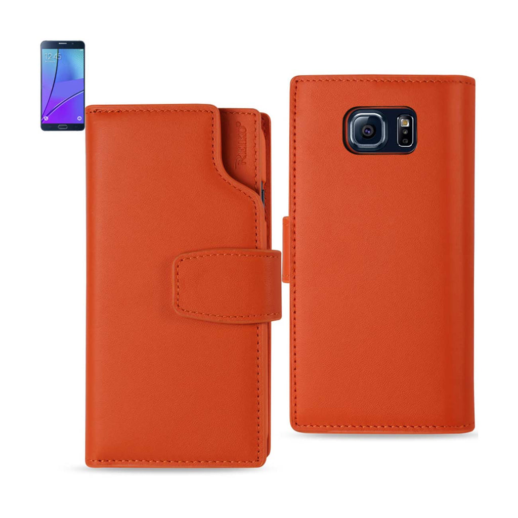 REIKO SAMSUNG GALAXY NOTE 5 GENUINE LEATHER WALLET CASE WITH OPEN THUMB CUT IN TANGERINE - keywebcoshop
