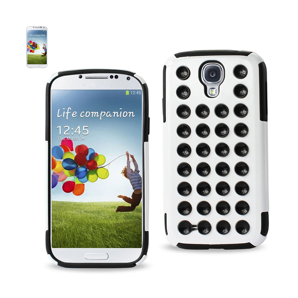 REIKO SAMSUNG GALAXY S4 HYBRID SUCTION DOT HOLES CASE IN BLACK WHITE - keywebcoshop