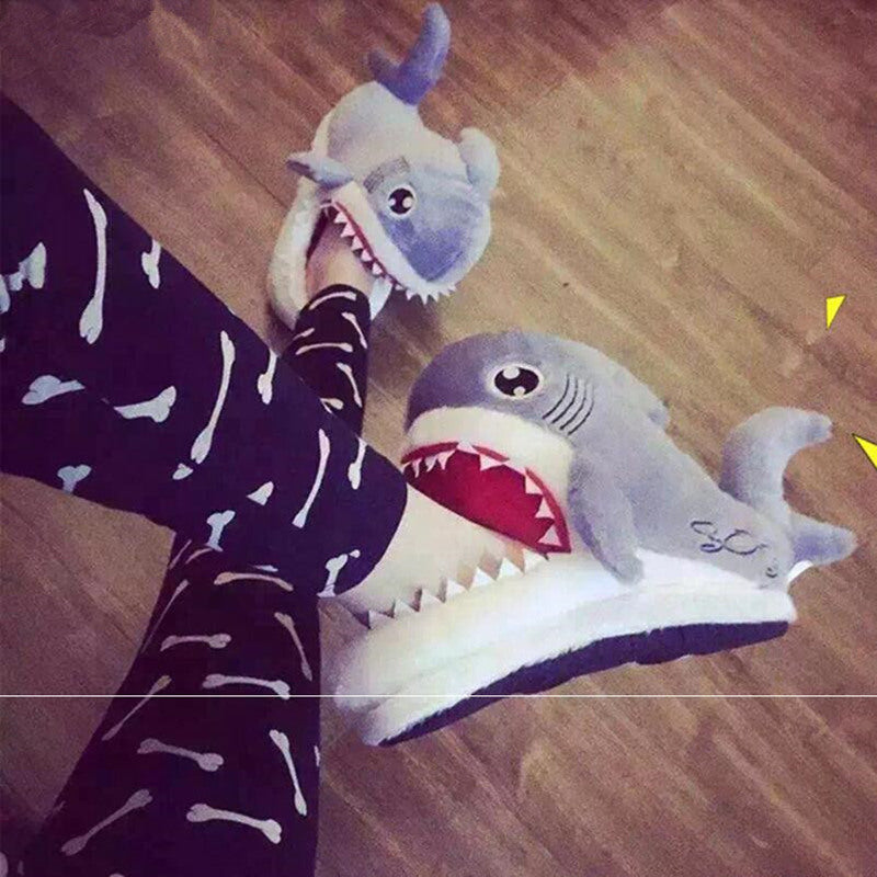 Winter Slippers Women and Men Fashion Shark Slipper Cotton Warm Indoor slippers Lovely Cartoon Women Slippers Unisex