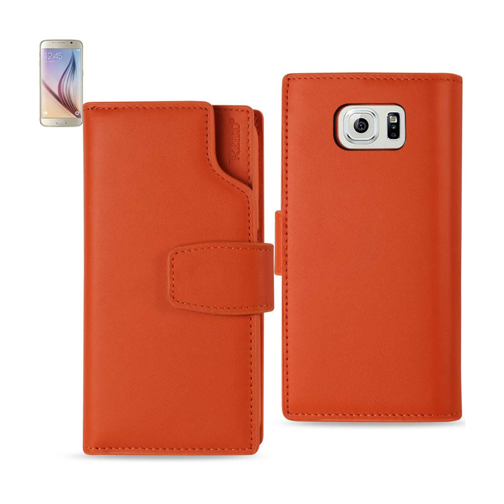 REIKO SAMSUNG GALAXY S6 GENUINE LEATHER WALLET CASE WITH OPEN THUMB CUT IN TANGERINE - keywebcoshop