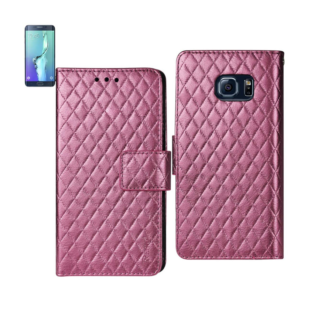 REIKO SAMSUNG GALAXY S6 EDGE PLUS RHOMBUS WALLET CASE IN HOT PINK - keywebcoshop