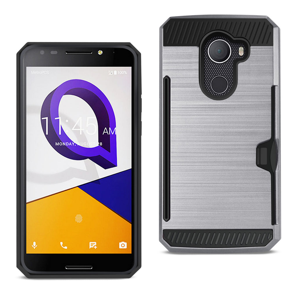 REIKO ALCATEL WALTERS SLIM ARMOR HYBRID CASE WITH CARD HOLDER IN GRAY - keywebcoshop