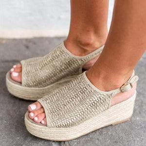 Women Hemp Sandals Sewing Female Beach Shoes Wedge Heels Peep Toe Platform Shoes Hasp Sandals