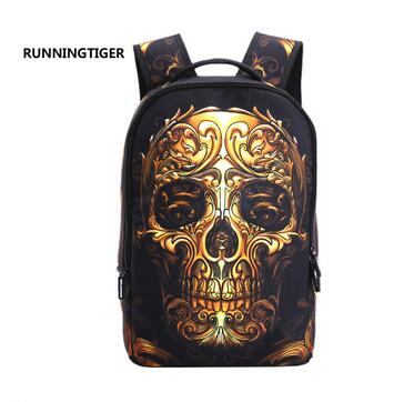 Printing Canvas 3D Skull Laptop Backpack for Men School Bags Punk Rock for Boys