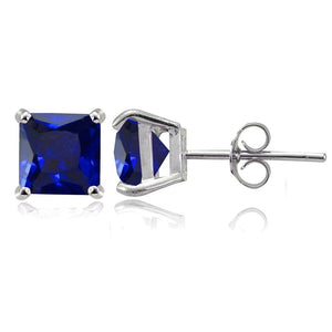Sterling Silver Created Blue Sapphire 6mm Square Stud Earrings - keywebcoshop