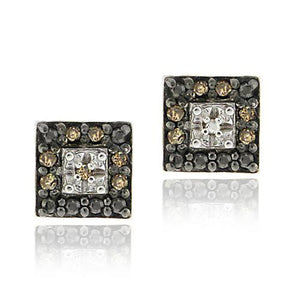 Sterling Silver .13ct. TDW Champagne Diamond Square Stud Earrings - keywebcoshop