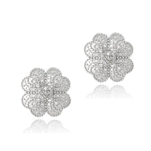 Sterling Silver 1/10ct Diamond Clover Stud Earrings - keywebcoshop