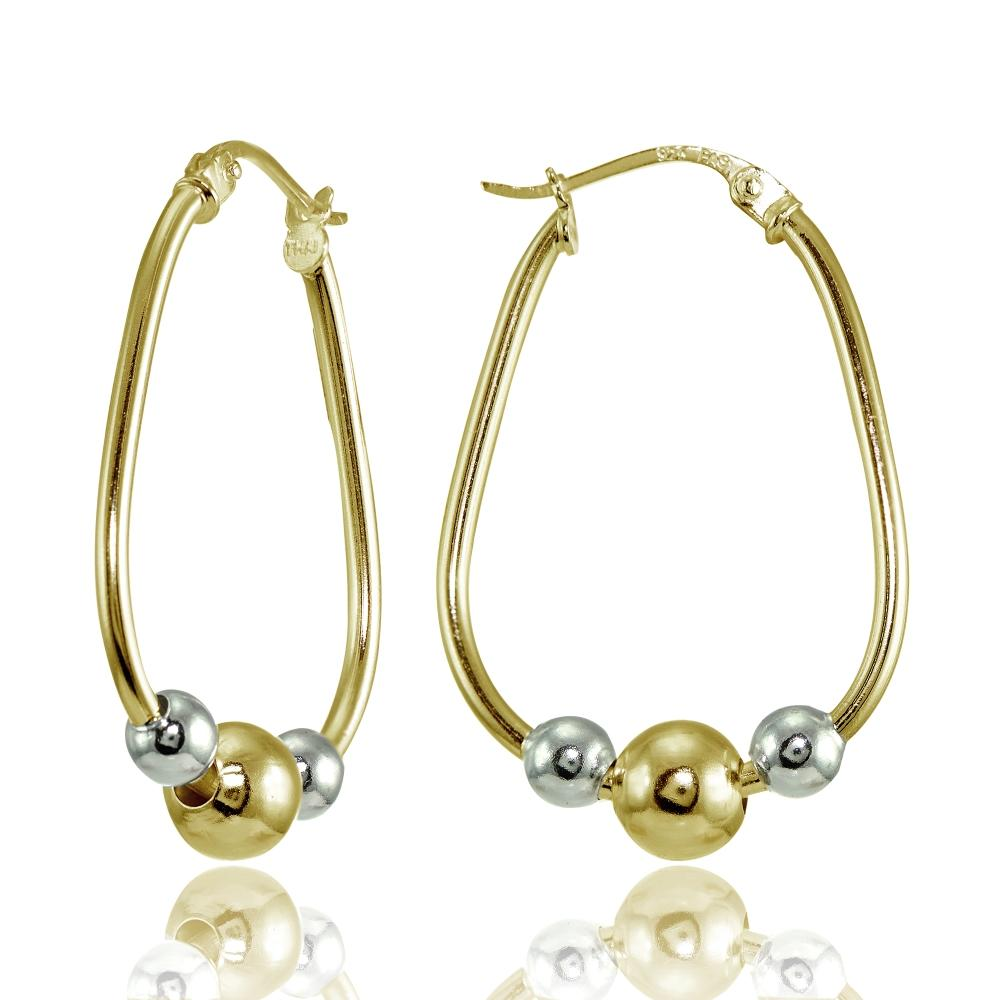 Yellow Gold Flashed Sterling Silver Two-Tone Polished Beaded  Hoop Earrings - keywebcoshop