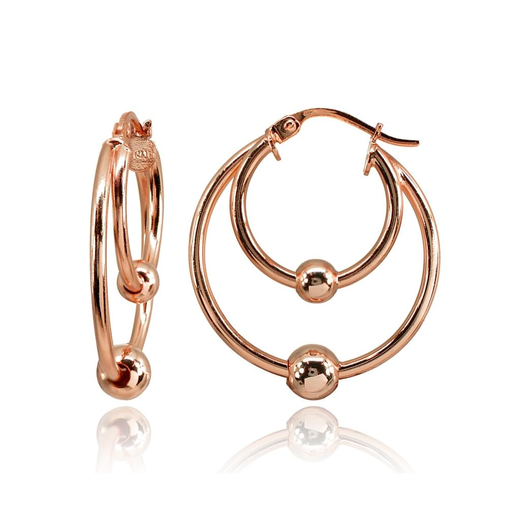 Rose Gold Flashed Sterling Silver High Polished Double Hoop with Bead Earrings - keywebcoshop