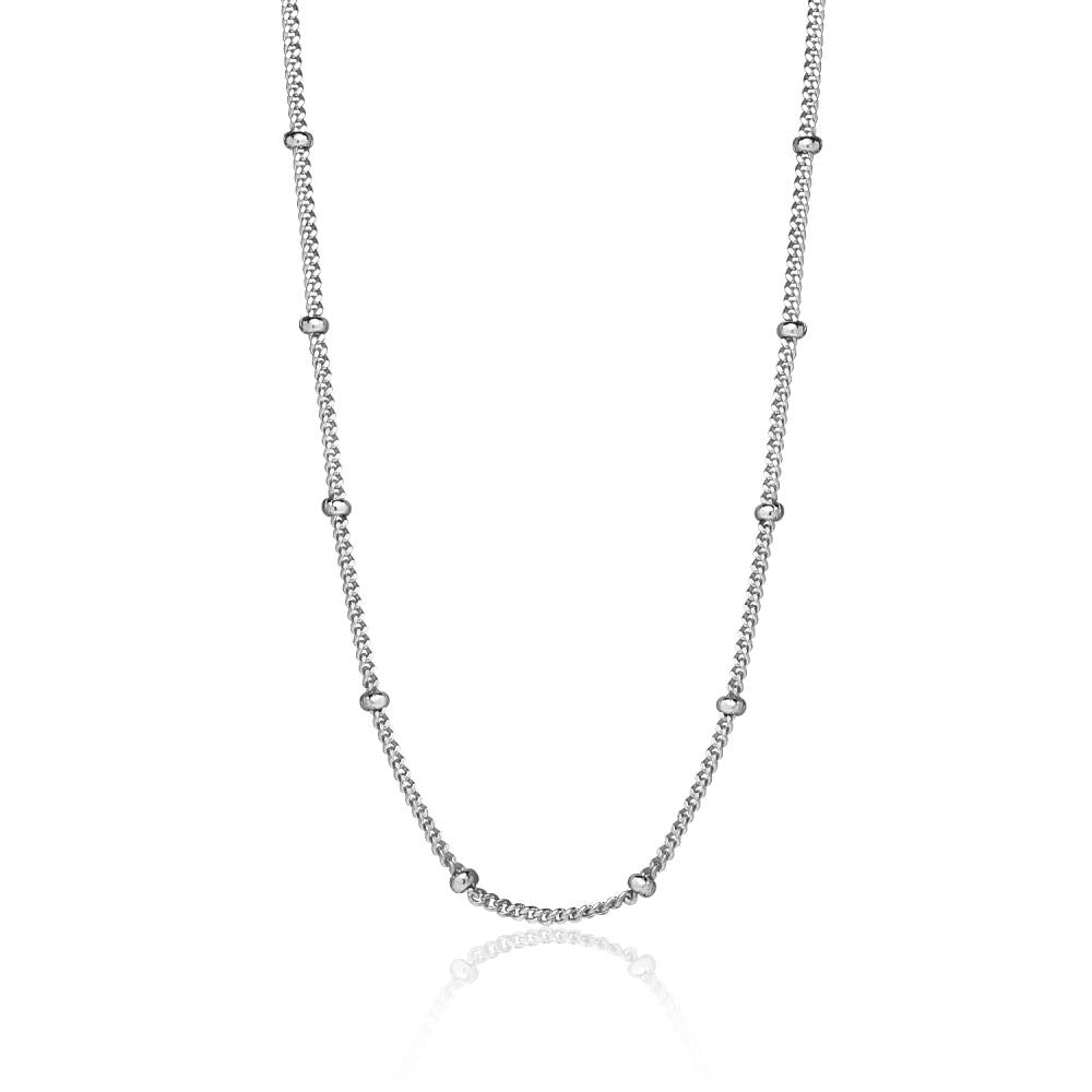 Sterling Silver 2mm Bead Station Cable Chain Necklace, 16 Inches - keywebcoshop