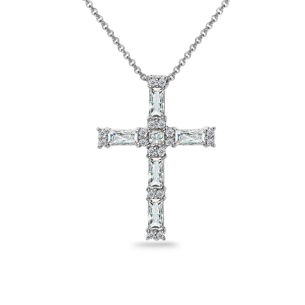 Sterling Silver Baguette-cut Cross Necklace Made with Swarovski Zirconia - keywebcoshop