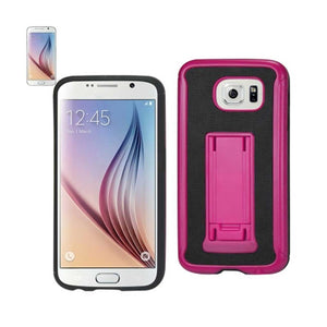 REIKO SAMSUNG GALAXY S6 HYBRID HEAVY DUTY CASE WITH VERTICAL KICKSTAND IN BLACK HOT PINK - keywebcoshop