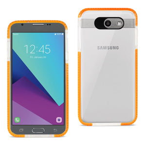 REIKO SAMSUNG GALAXY J7 V (2017) SOFT TRANSPARENT TPU CASE IN CLEAR ORANGE - keywebcoshop