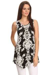 Women's Sleeveless Printed Shirt Handkerchief Hem Tunic