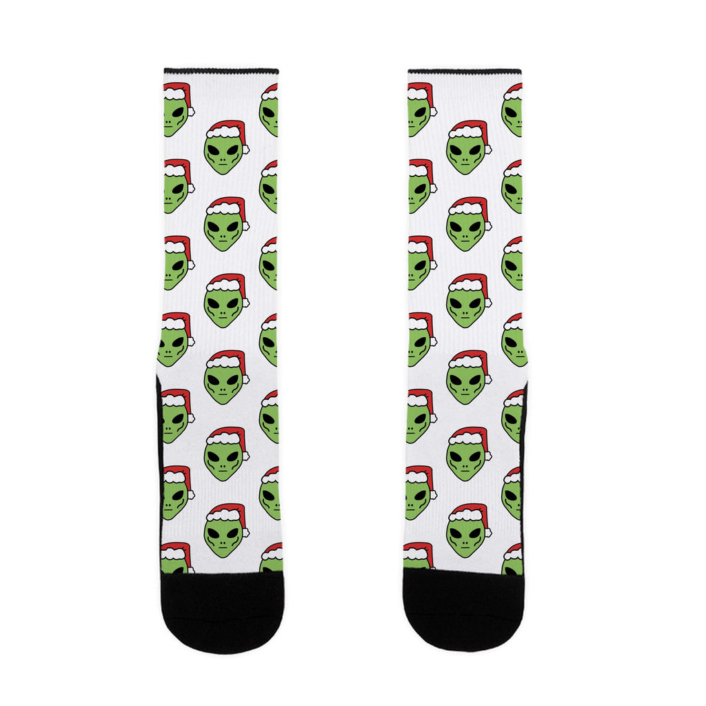 Aliens in Santa Hats US Size 7-13 Socks by LookHUMAN