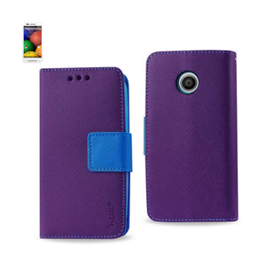 REIKO MOTOROLA MOTO E 3-IN-1 WALLET CASE IN PURPLE - keywebcoshop