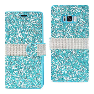 REIKO SAMSUNG GALAXY S8/ SM DIAMOND RHINESTONE WALLET CASE IN BLUE - keywebcoshop