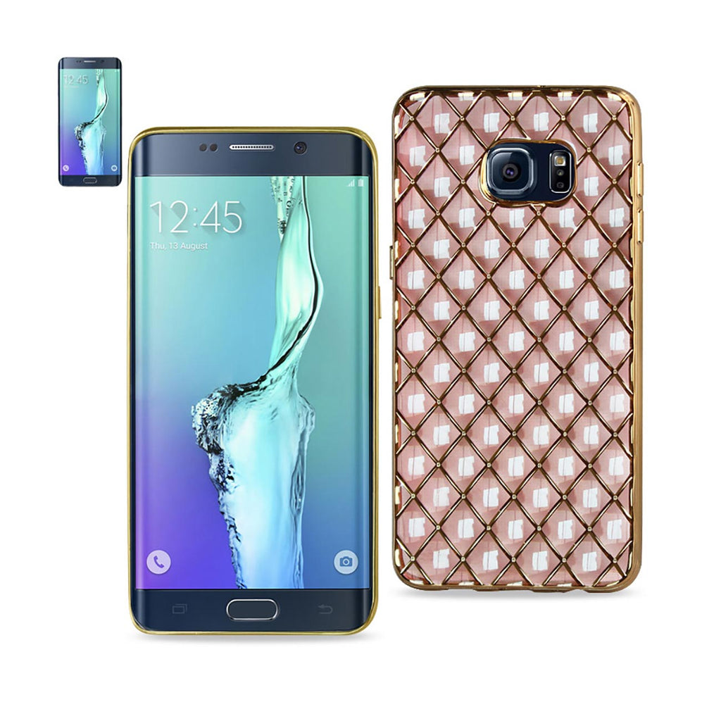 REIKO SAMSUNG GALAXY S6 EDGE PLUS FLEXIBLE 3D RHOMBUS PATTERN TPU CASE WITH SHINY FRAME IN PINK - keywebcoshop