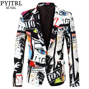 PYJTRL Brand 2018 New Tide Mens Fashion Print Blazer Design Plus Size Hip Hot Casual Male Slim Fit Suit Jacket Singer Costume - keywebcoshop