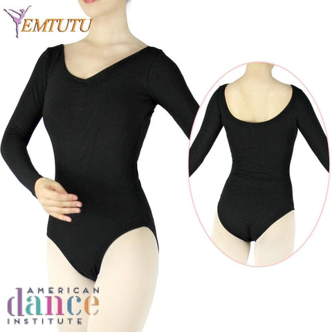 Adult Long Sleeve Ballet Dance Leotards - Black Cotton Lycra Apparel