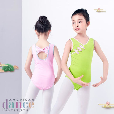 V Neck Sleeveless Back Bowknot Ballet Leotards Girls Kids Vest Clothing Dancewear Children Dance