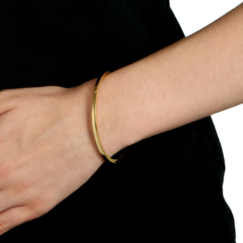 Squared Edge Bangle - Polished  18k Gold