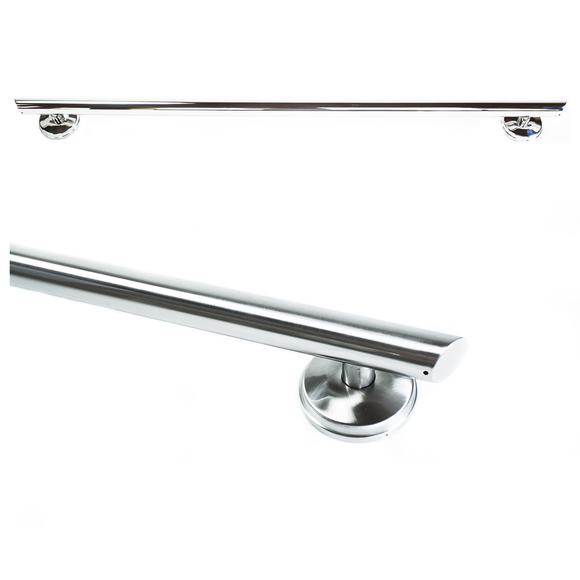 36 inch Straight Decorative Grab Bar w/ Angled Ends, Rubber Grips & FREE Anchors (2)