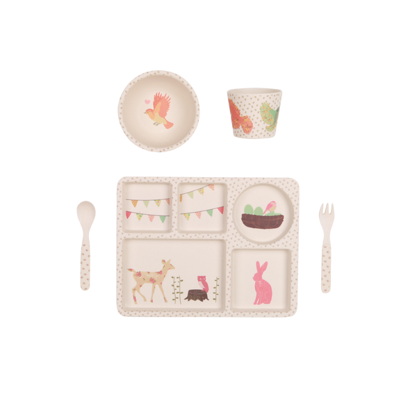 Woodlands Tea Party - 5 Piece Bamboo Tableware Set