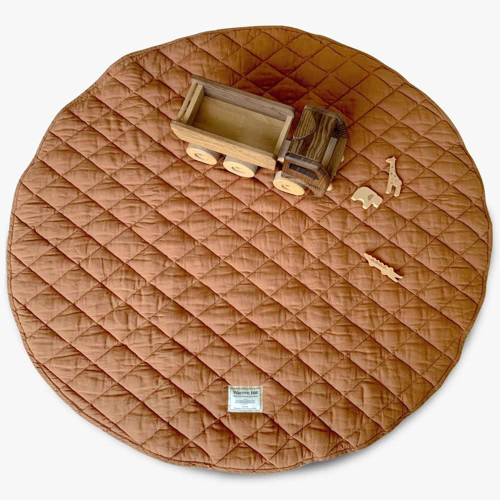 Quilted Linen Baby Play Mat - Rust