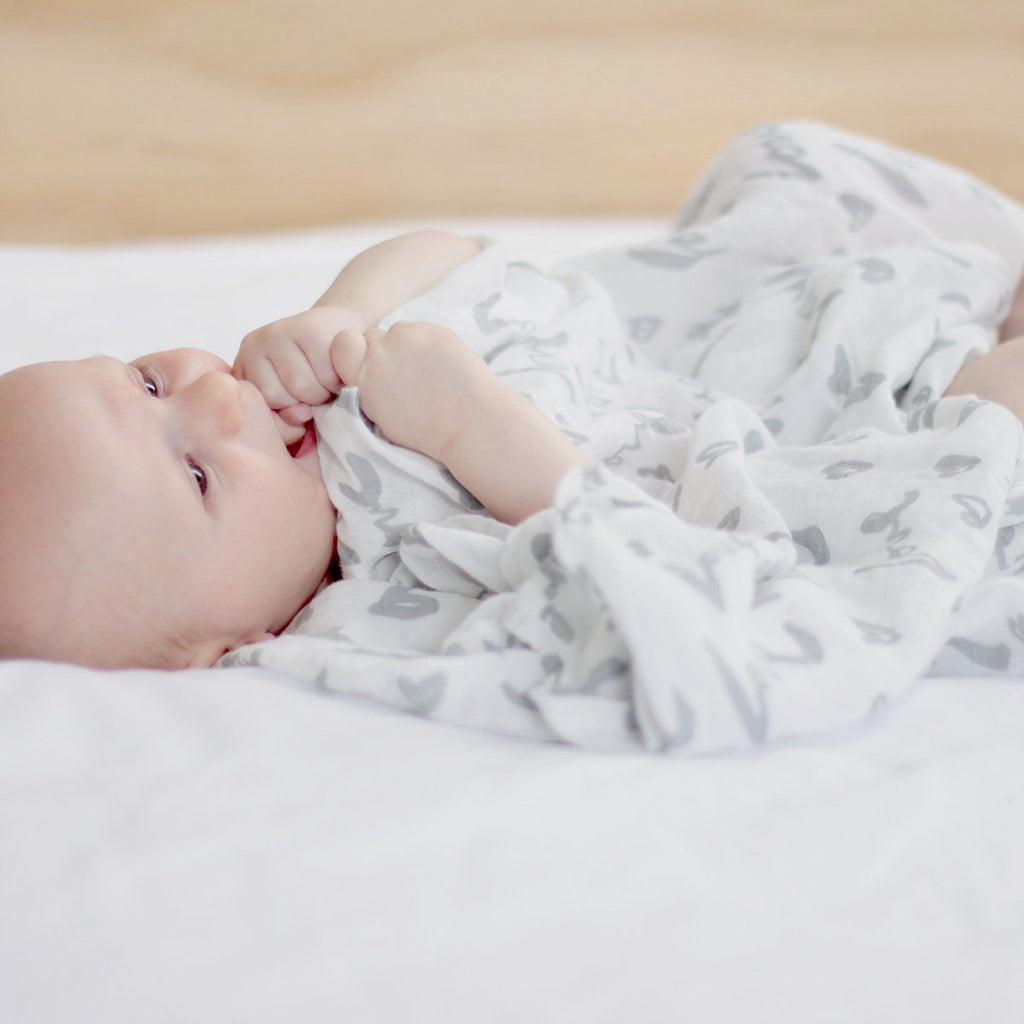Love Print Grey Bamboo / Cotton Muslin Swaddle