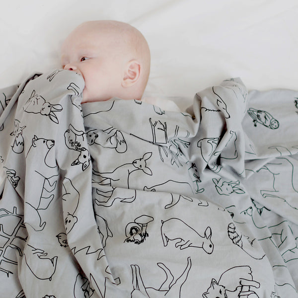 Organic Cotton Stretchy Swaddle / Woodland Print Grey