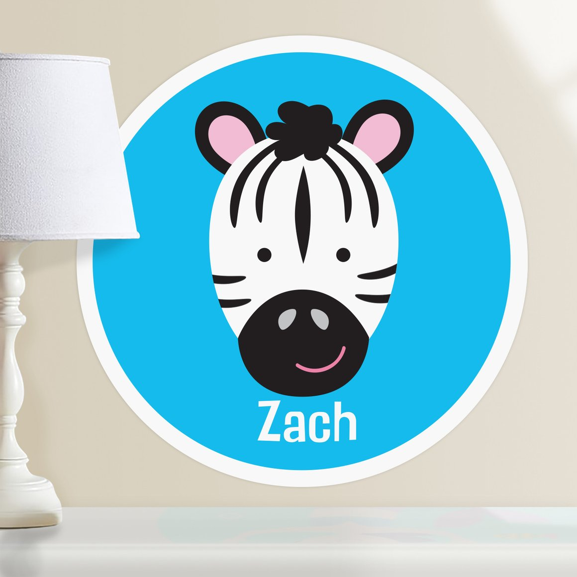 Baby Animals Zebra Personalized Kids Wall Dotz Decal