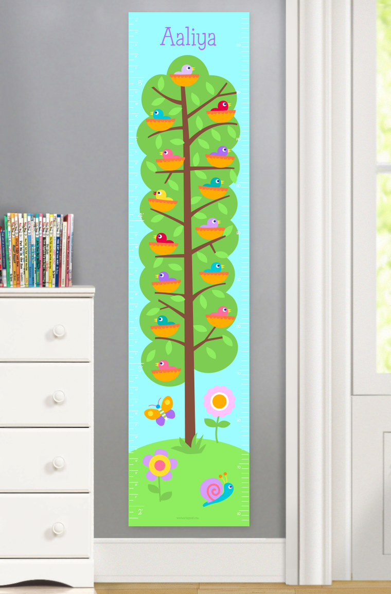 Baby Birds Personalized Kids Canvas Growth Chart