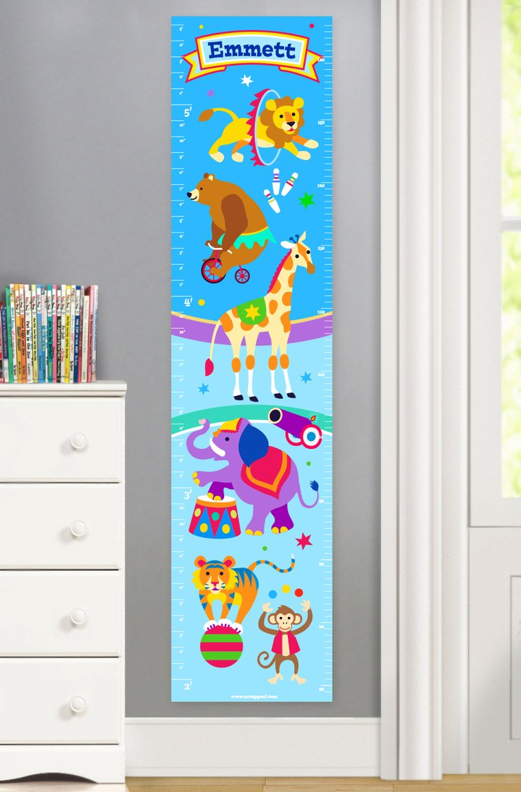 Big Top Circus Personalized Kids Canvas Growth Chart