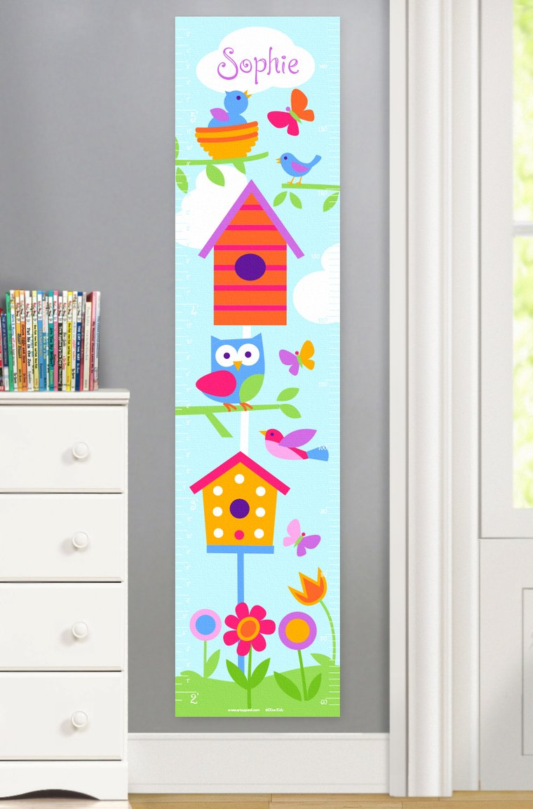 Birdie Personalized Kids Canvas Growth Chart