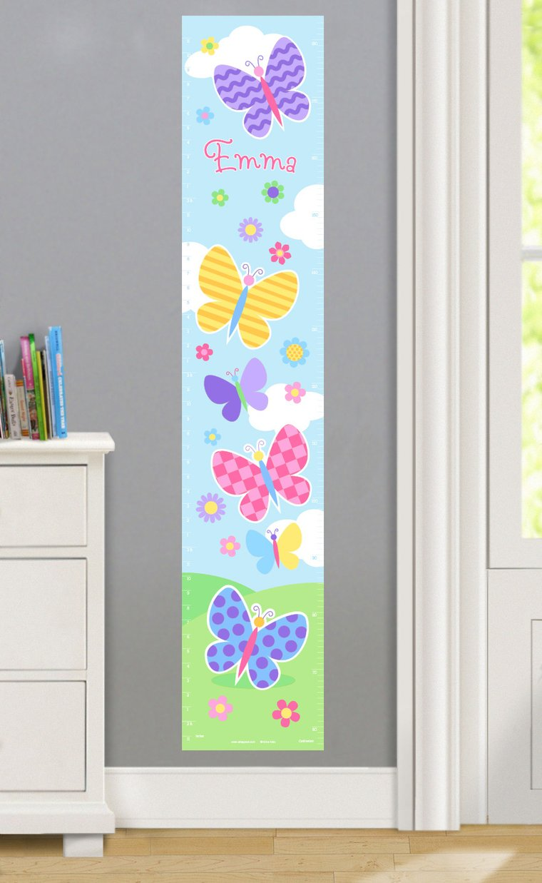 Butterfly Garden Personalized Decals Kids Growth Chart