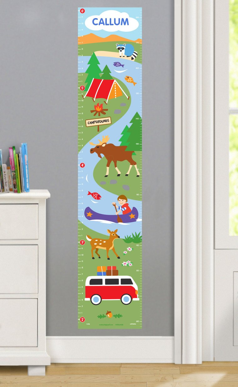 Camping Trip Personalized Decals Kids Growth Chart