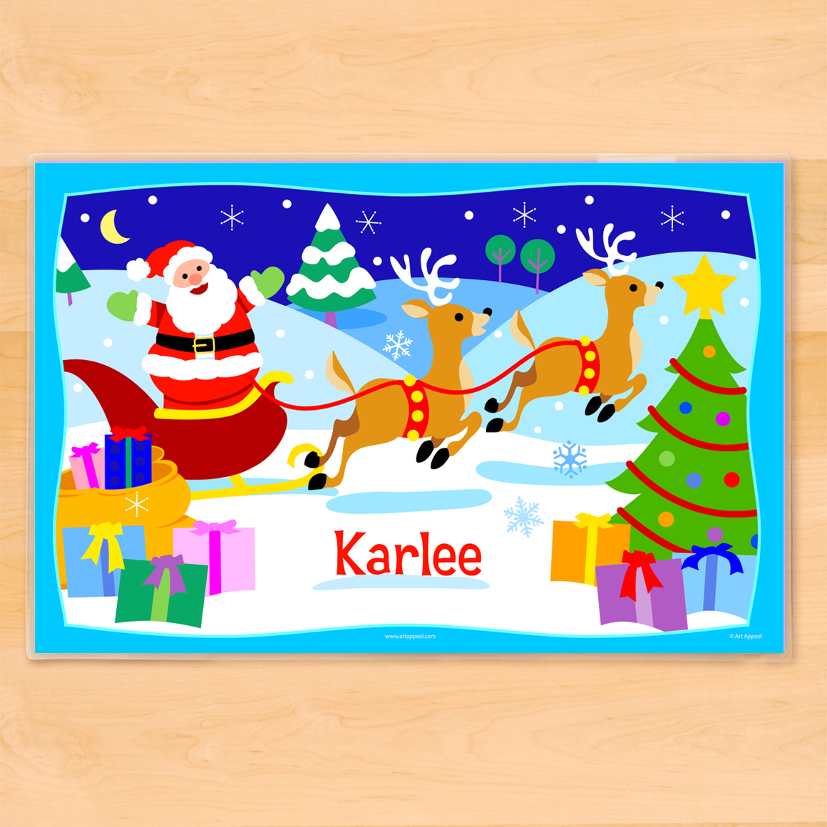 Christmas Santa Sleigh Personalized Kids Placemat
