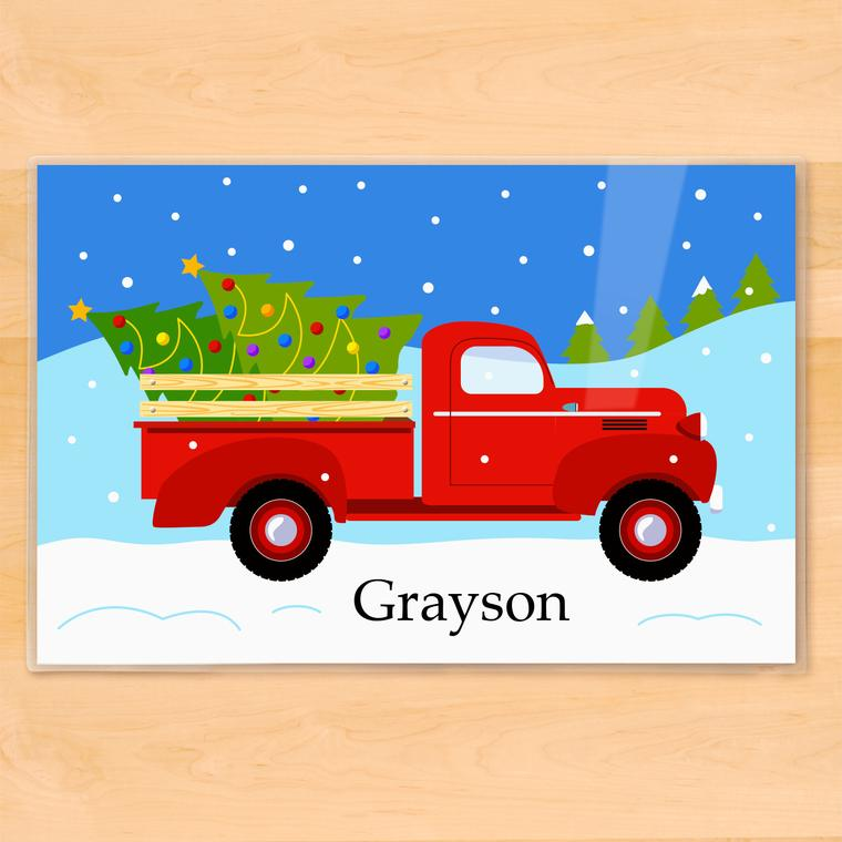 Christmas Tree Truck Personalized Kids Placemat