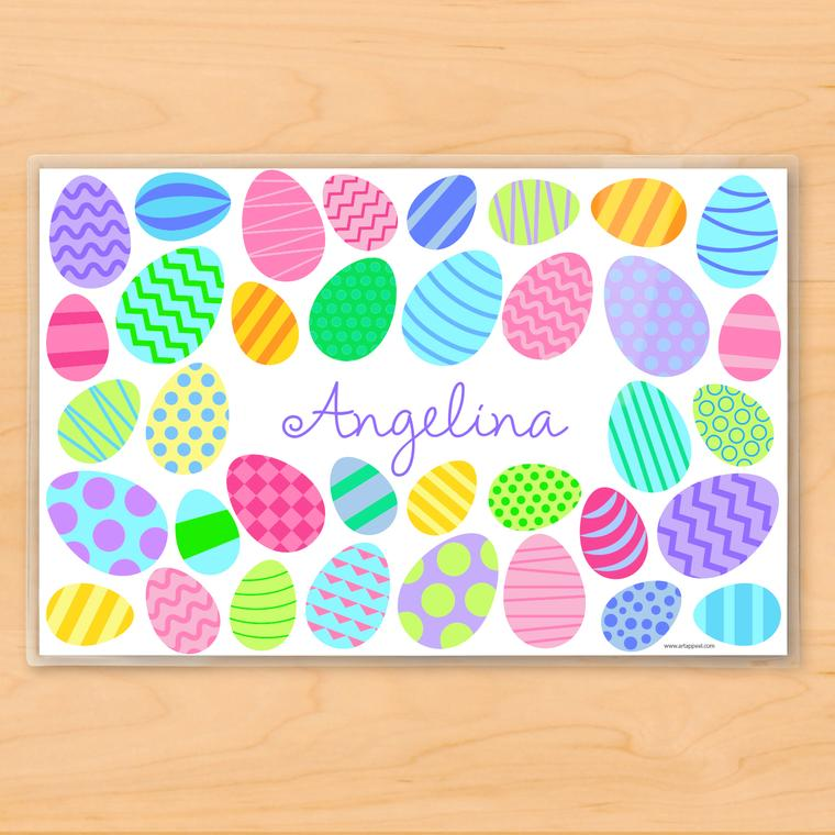 Colourful Easter Eggs Personalized Kids Placemat