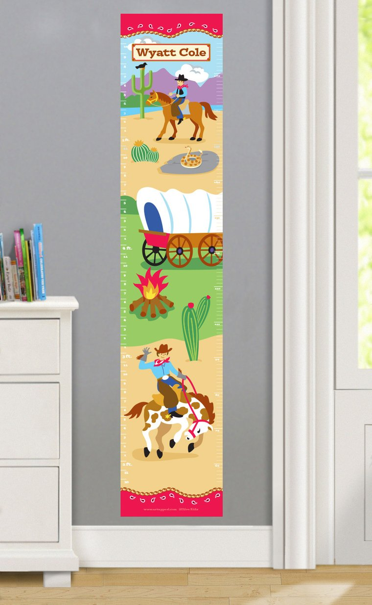 Cowboy Personalized Decals Kids Growth Chart