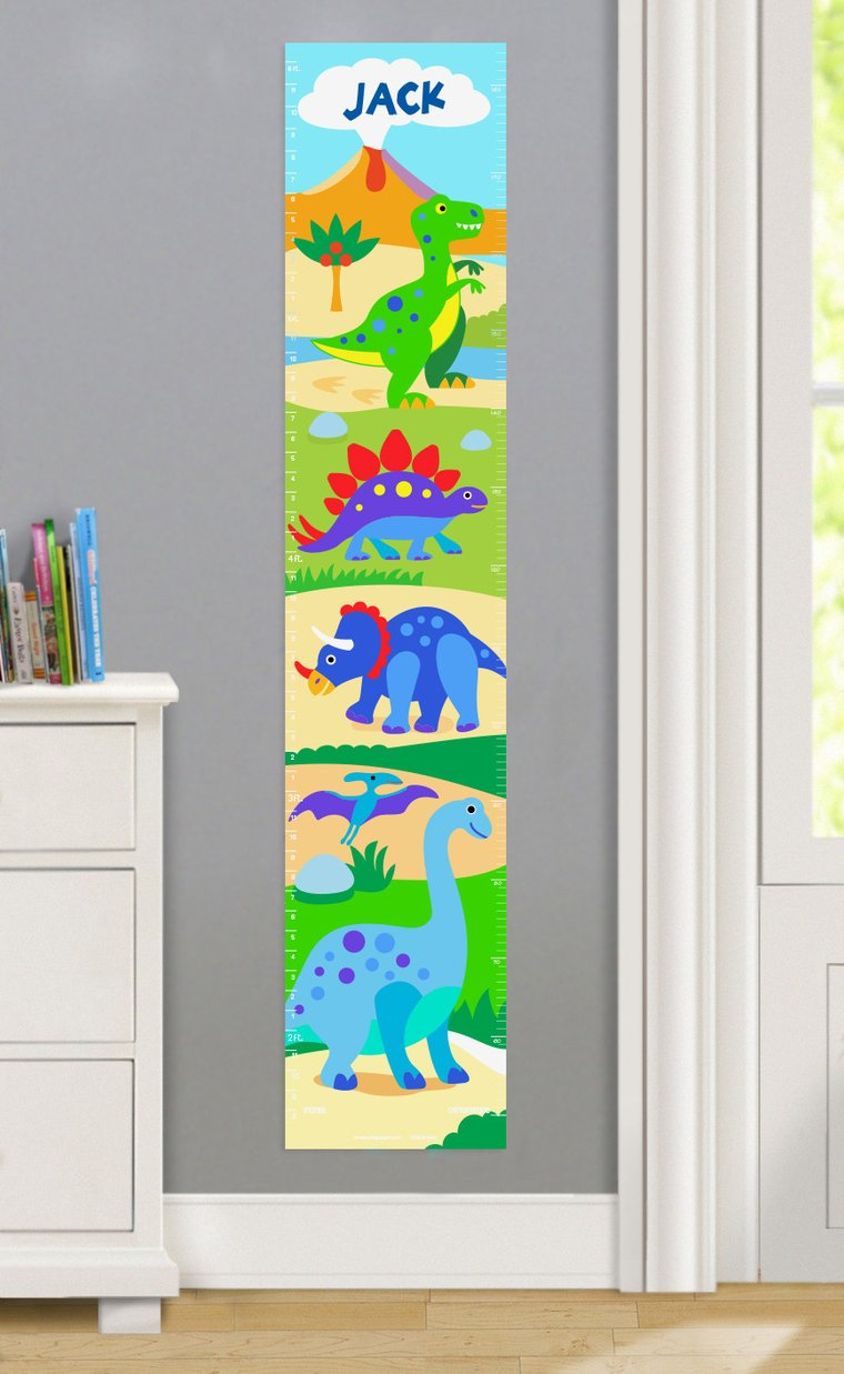 Dinosaur Land Personalized Decals Kids Growth Chart