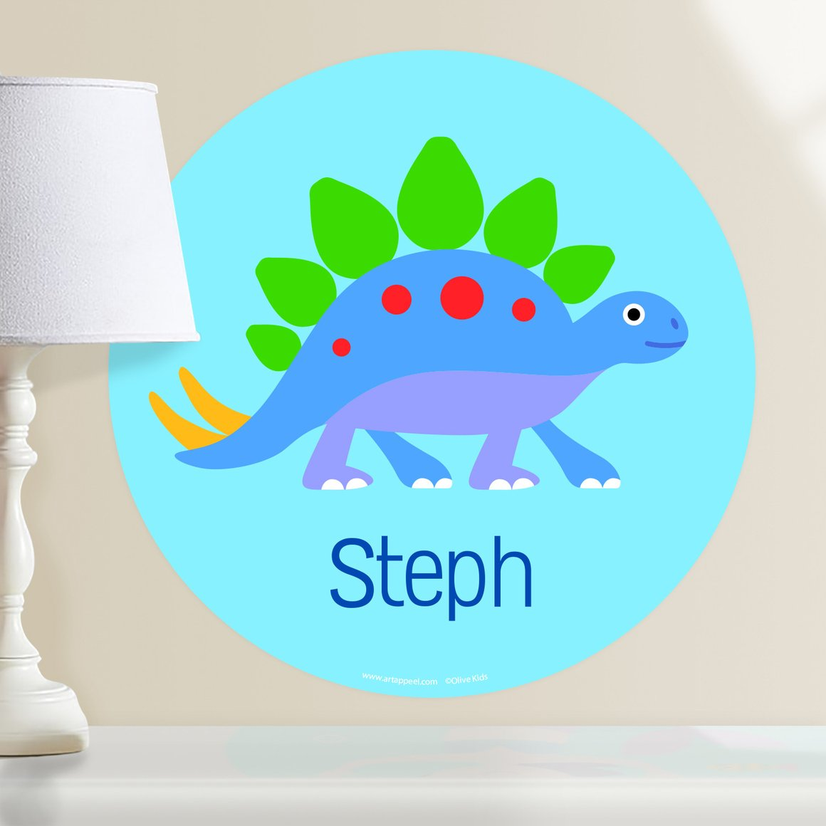 Dinosaur Land Stegosaurus Personalized Kids Wall Dotz Decal