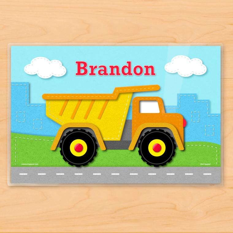 Dump Truck Personalized Kids Placemat