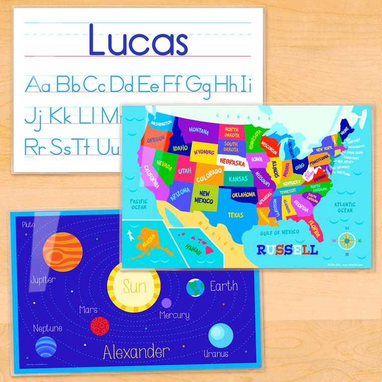Educational Personalized Kids Placemat Set of 3