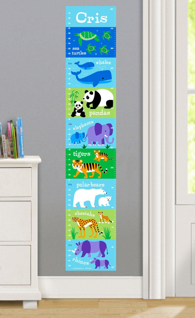Endangered Animals Personalized Decals Kids Growth Chart