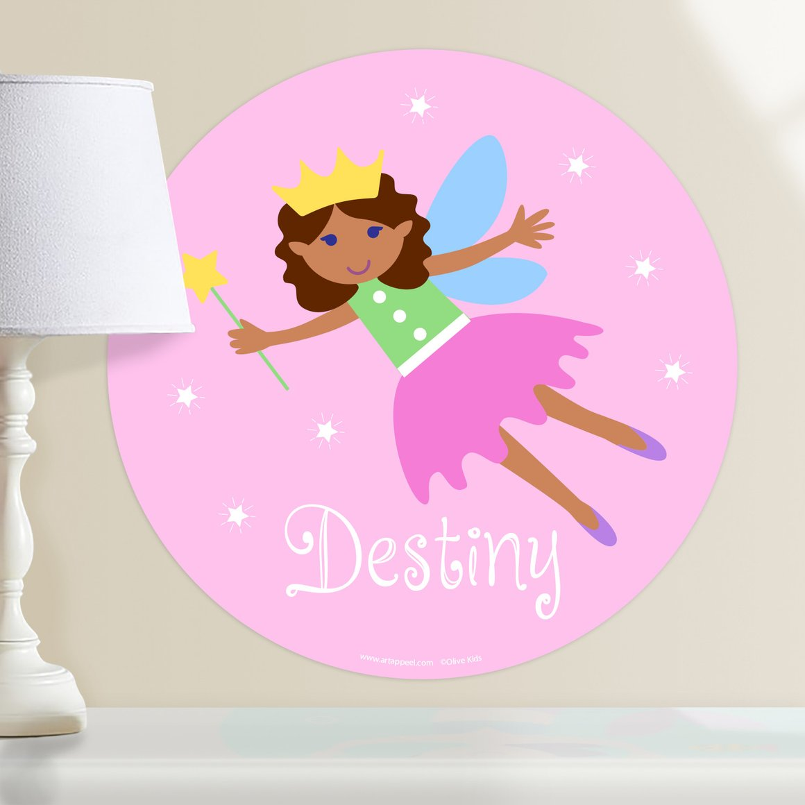Fairy Princess (Dark Skin, Curly Hair) Personalized Kids Wall Dotz Decal