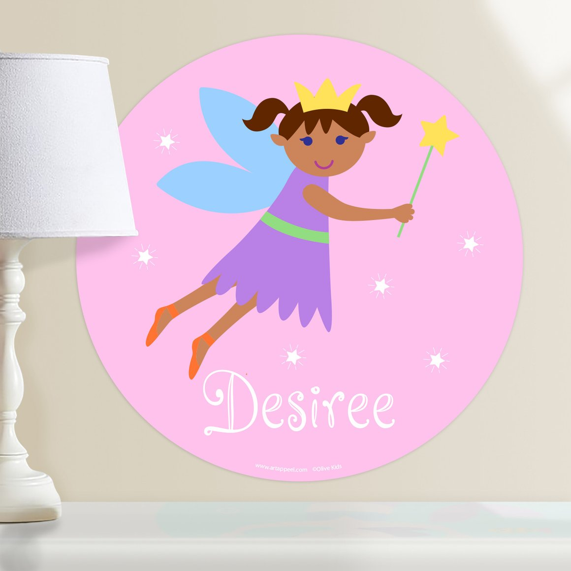 Fairy Princess (Dark Skin, Dark Hair) Personalized Kids Wall Dotz Decal