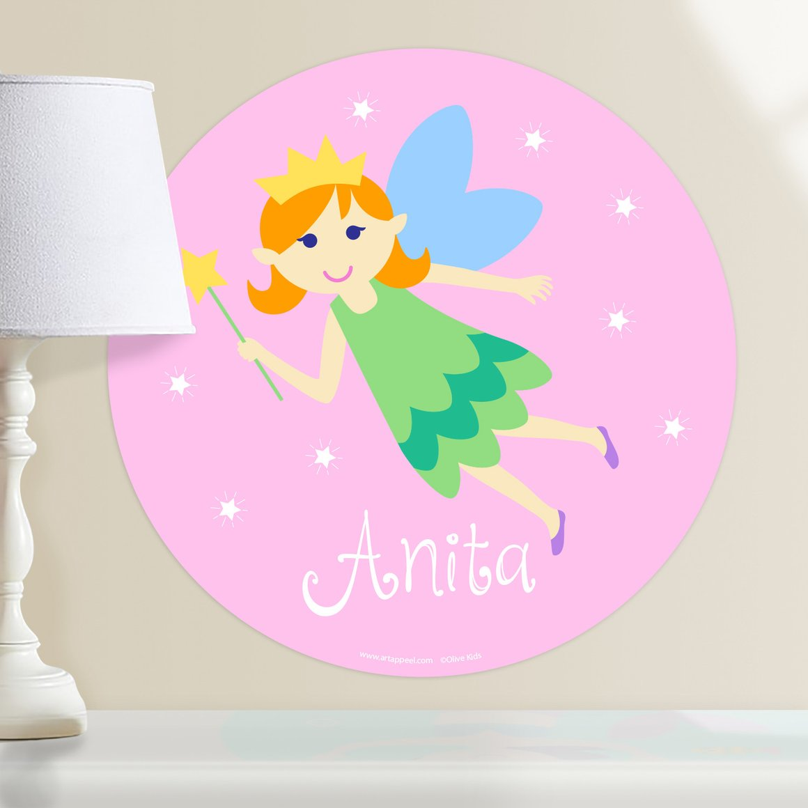 Fairy Princess (Light Skin, Red Hair) Personalized Kids Wall Dotz Decal