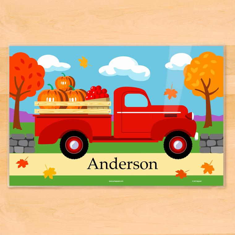Fall Truck Personalized Kids Placemat